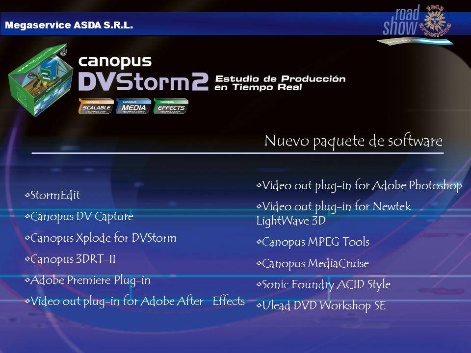 Megaservice ASDA S.R.L. Nuevo paquete de software StormEdit Canopus DV Capture Canopus Xplode for DVStorm Canopus 3DRT-II Adobe Premiere Plug-in Video