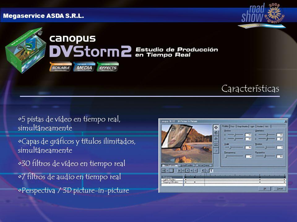 Megaservice ASDA S.R.L. Características 5 pistas de vídeo en tiempo real, simultáneamente Capas de gráficos y títulos ilimitados, simultáneamente 30 f