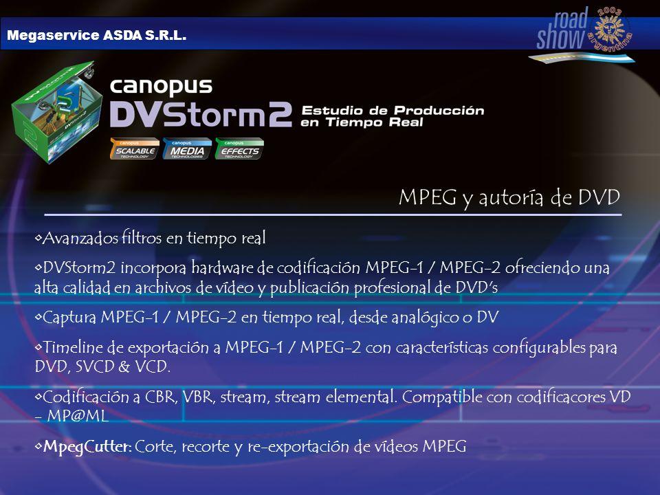 Megaservice ASDA S.R.L. MPEG y autoría de DVD Avanzados filtros en tiempo real DVStorm2 incorpora hardware de codificación MPEG-1 / MPEG-2 ofreciendo