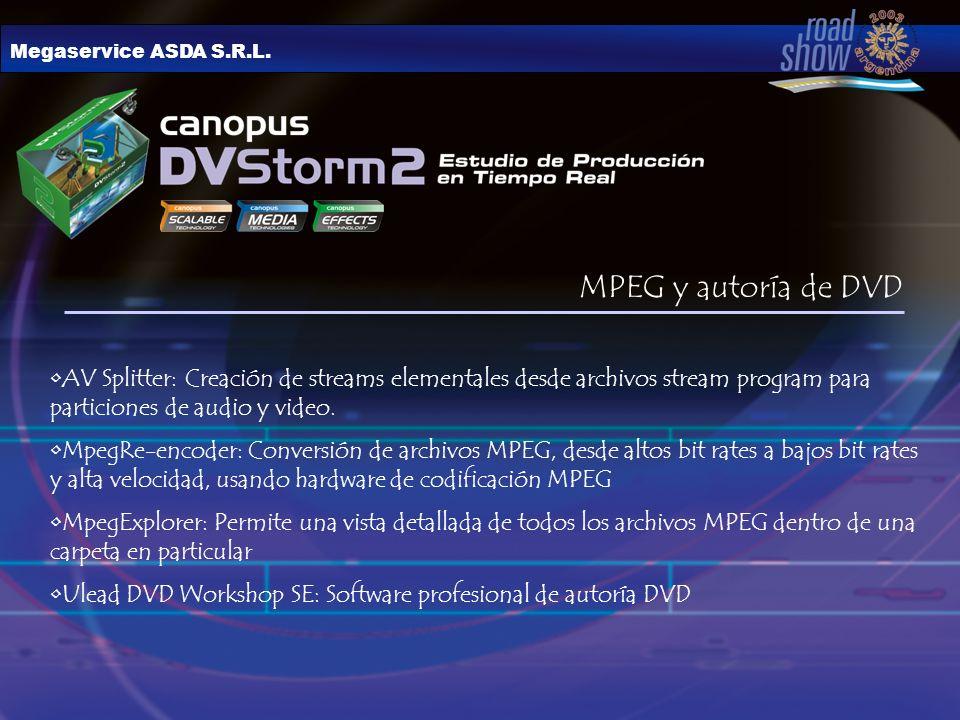 Megaservice ASDA S.R.L. MPEG y autoría de DVD AV Splitter: Creación de streams elementales desde archivos stream program para particiones de audio y v