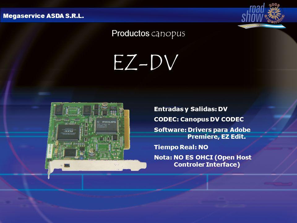 Megaservice ASDA S.R.L. Productos canopus Entradas y Salidas: DV CODEC: Canopus DV CODEC Software: Drivers para Adobe Premiere, EZ Edit. Tiempo Real: