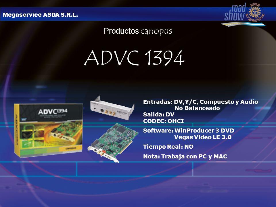 Megaservice ASDA S.R.L. Productos canopus ADVC 1394 Entradas: DV,Y/C, Compuesto y Audio No Balanceado Salida: DV CODEC: OHCI Software: WinProducer 3 D