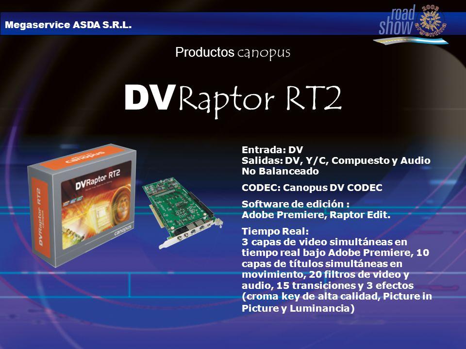 Megaservice ASDA S.R.L. Productos canopus DV Raptor RT2 Entrada: DV Salidas: DV, Y/C, Compuesto y Audio No Balanceado CODEC: Canopus DV CODEC Software