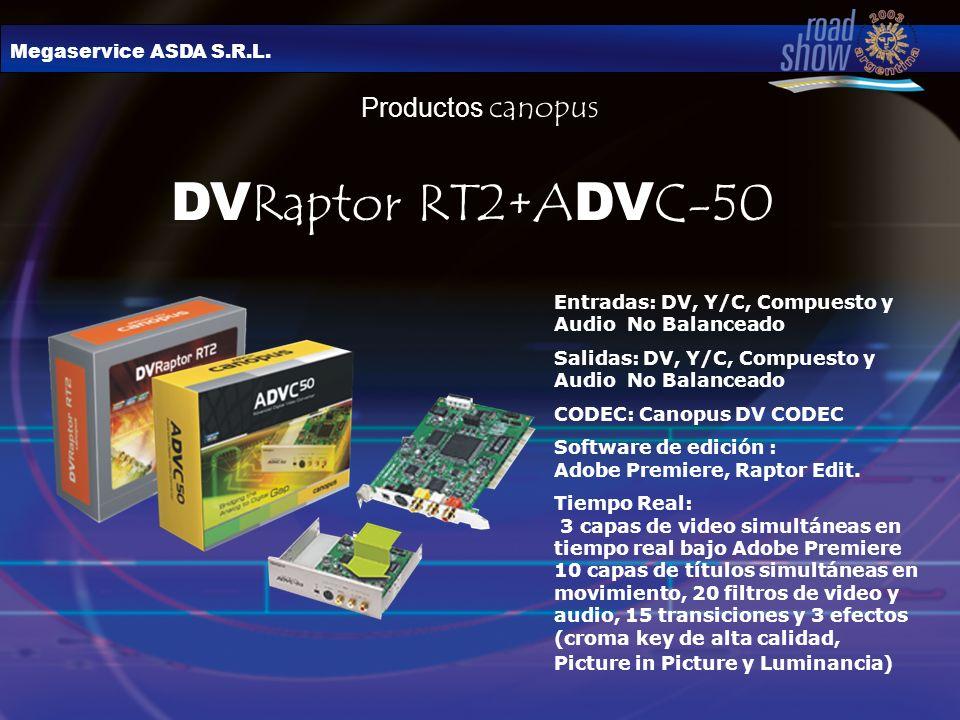 Megaservice ASDA S.R.L. Productos canopus DV Raptor RT2+A DV C-50 Entradas: DV, Y/C, Compuesto y Audio No Balanceado Salidas: DV, Y/C, Compuesto y Aud