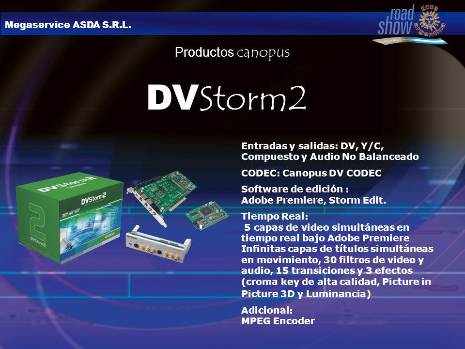 Megaservice ASDA S.R.L. Productos canopus DV Storm2 Entradas y salidas: DV, Y/C, Compuesto y Audio No Balanceado CODEC: Canopus DV CODEC Software de e