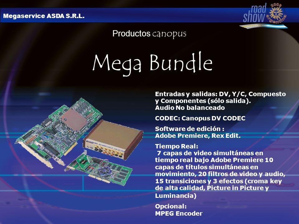 Megaservice ASDA S.R.L. Productos canopus Mega Bundle Entradas y salidas: DV, Y/C, Compuesto y Componentes (sólo salida). Audio No balanceado CODEC: C