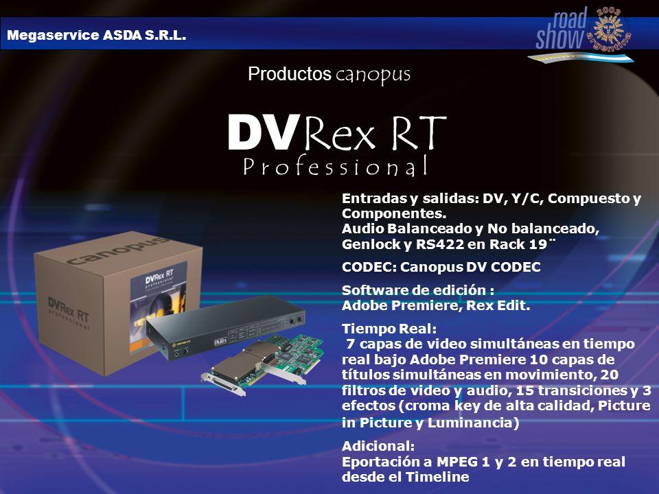Megaservice ASDA S.R.L. Productos canopus DV Rex RT Entradas y salidas: DV, Y/C, Compuesto y Componentes. Audio Balanceado y No balanceado, Genlock y