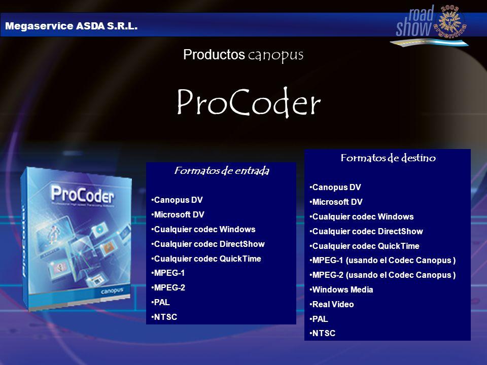 Megaservice ASDA S.R.L. Productos canopus ProCoder Formatos de entrada Canopus DV Microsoft DV Cualquier codec Windows Cualquier codec DirectShow Cual