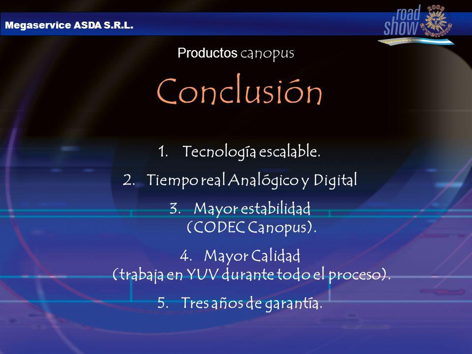 Megaservice ASDA S.R.L. Productos canopus Conclusión 1.Tecnología escalable. 2.Tiempo real Analógico y Digital 3.Mayor estabilidad (CODEC Canopus). 4.