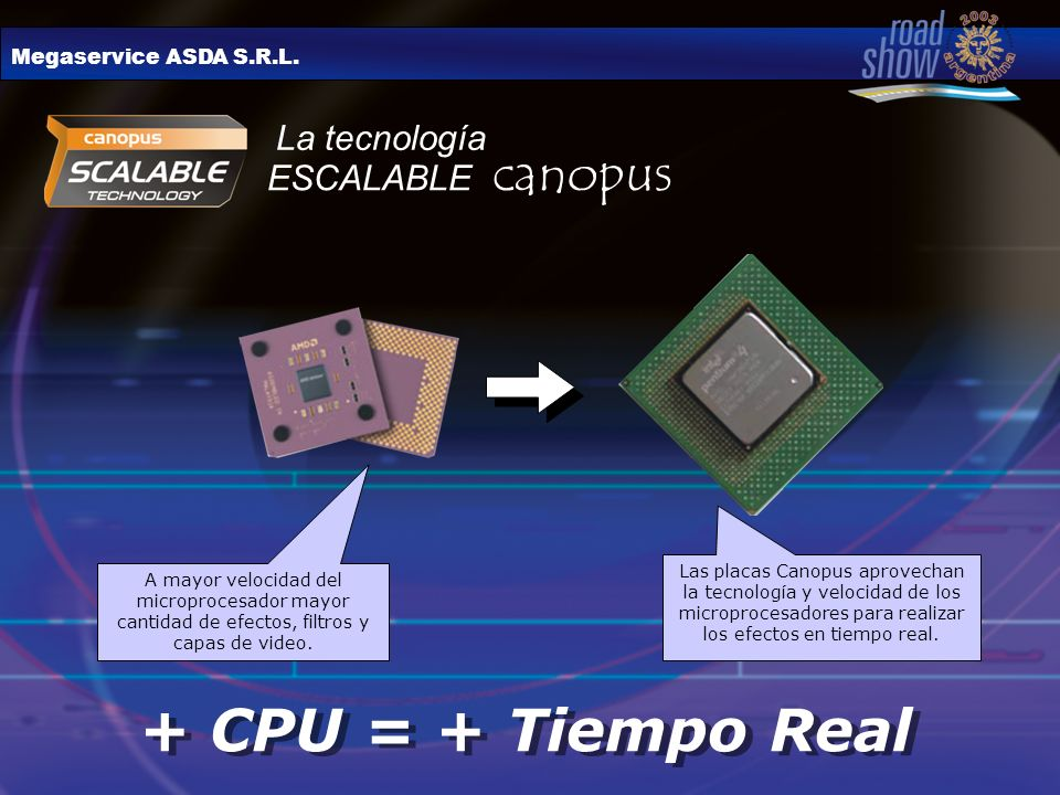 Megaservice ASDA S.R.L. ESCALABLE canopus + CPU = + Tiempo Real Las placas Canopus aprovechan la tecnología y velocidad de los microprocesadores para