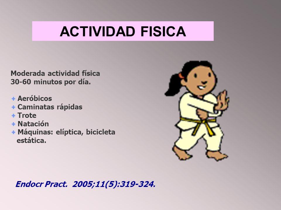 ACTIVIDAD FISICA Moderada actividad física 30-60 minutos por día.