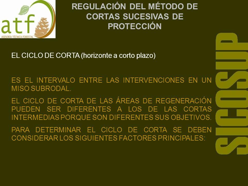 REGULACIÓN DEL MÉTODO DE CORTAS SUCESIVAS DE PROTECCIÓN EL CICLO DE CORTA (horizonte a corto plazo) ES EL INTERVALO ENTRE LAS INTERVENCIONES EN UN MISO SUBRODAL.