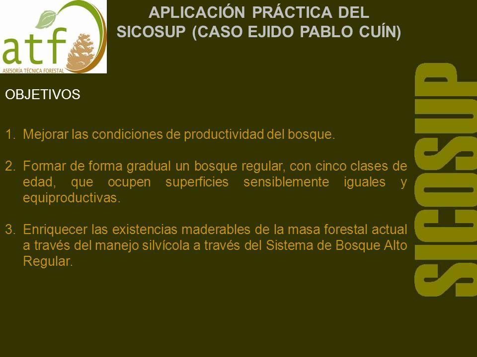 APLICACIÓN PRÁCTICA DEL SICOSUP (CASO EJIDO PABLO CUÍN) OBJETIVOS 1.Mejorar las condiciones de productividad del bosque.