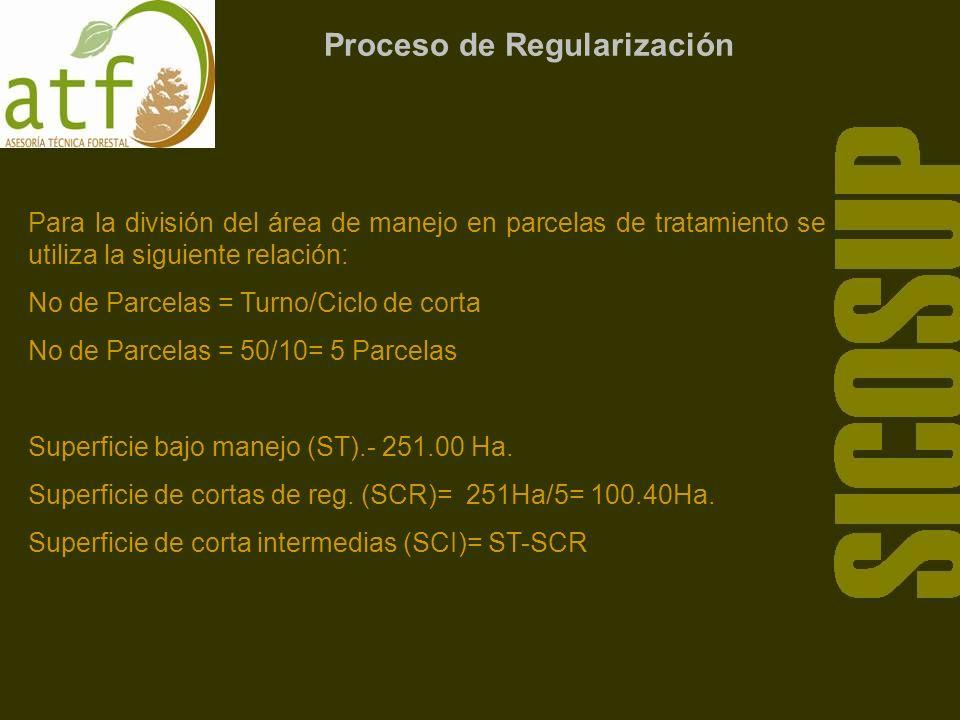 Proceso de Regularización Para la división del área de manejo en parcelas de tratamiento se utiliza la siguiente relación: No de Parcelas = Turno/Ciclo de corta No de Parcelas = 50/10= 5 Parcelas Superficie bajo manejo (ST).- 251.00 Ha.