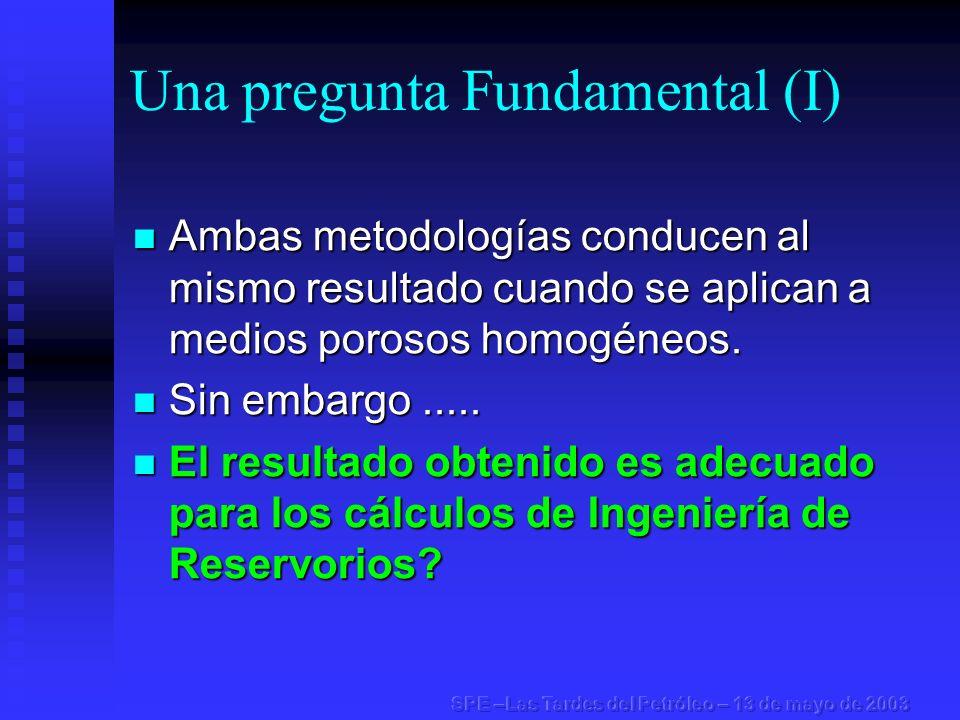 Una pregunta Fundamental (I) Ambas metodologías conducen al mismo resultado cuando se aplican a medios porosos homogéneos. Ambas metodologías conducen