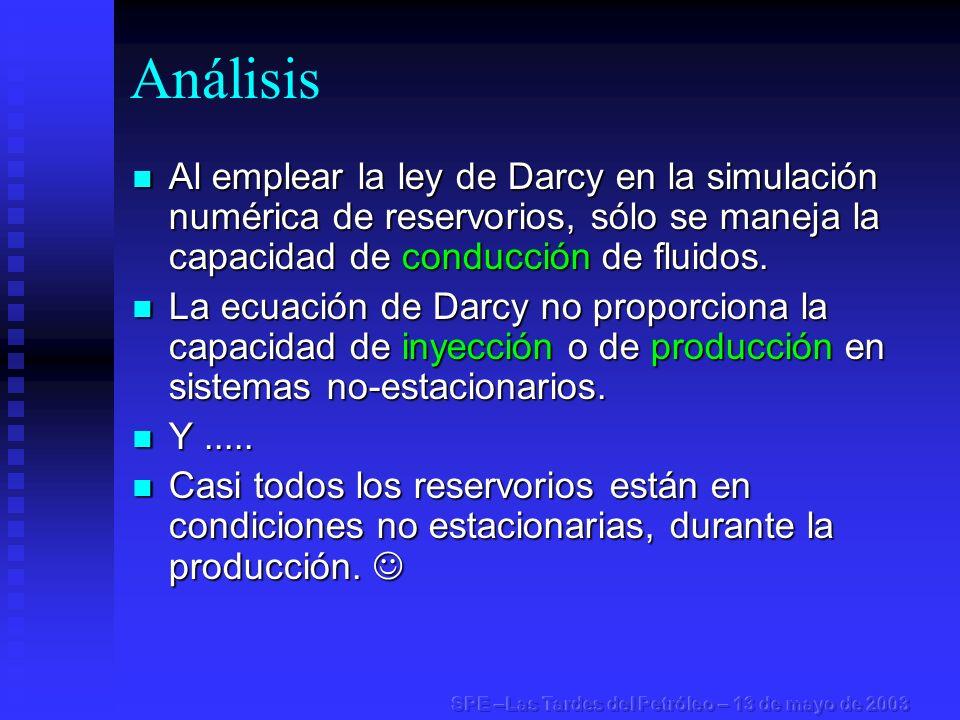Análisis Al emplear la ley de Darcy en la simulación numérica de reservorios, sólo se maneja la capacidad de conducción de fluidos. Al emplear la ley