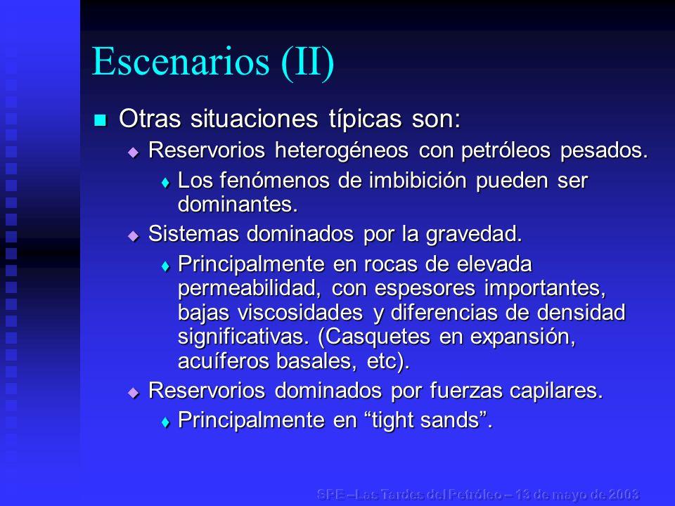 Escenarios (II) Otras situaciones típicas son: Otras situaciones típicas son: Reservorios heterogéneos con petróleos pesados. Reservorios heterogéneos