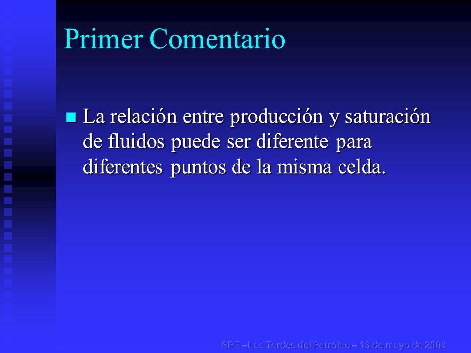 Primer Comentario La relación entre producción y saturación de fluidos puede ser diferente para diferentes puntos de la misma celda. La relación entre
