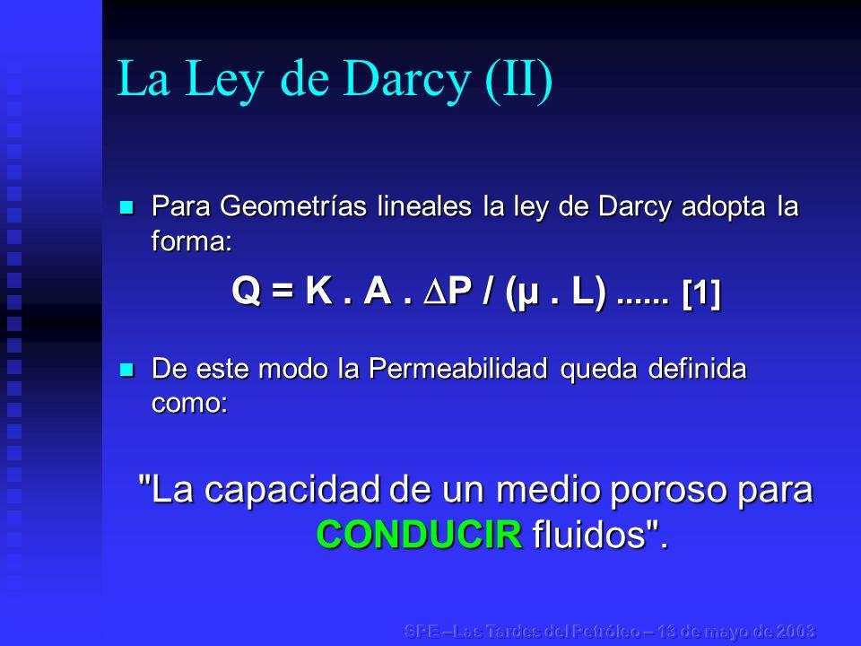 La Ley de Darcy (II) Para Geometrías lineales la ley de Darcy adopta la forma: Para Geometrías lineales la ley de Darcy adopta la forma: Q = K. A. P /