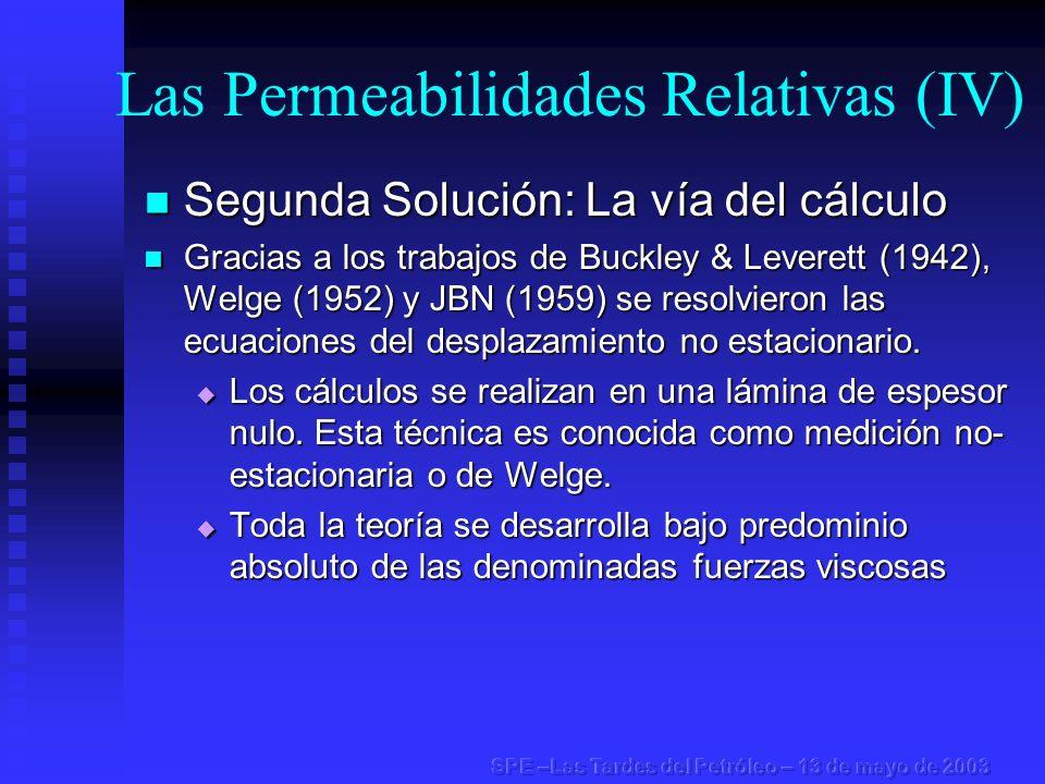 Permeabilidades Relativas (Resumen) Para aplicar la ecuación de Darcy al flujo multifásico fue necesario generar una única saturación del sistema en el punto de cálculo.