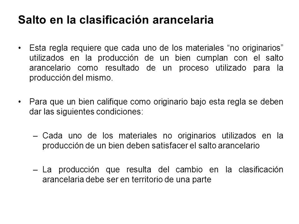 Salto en la clasificación arancelaria Esta regla requiere que cada uno de los materiales no originarios utilizados en la producción de un bien cumplan con el salto arancelario como resultado de un proceso utilizado para la producción del mismo.