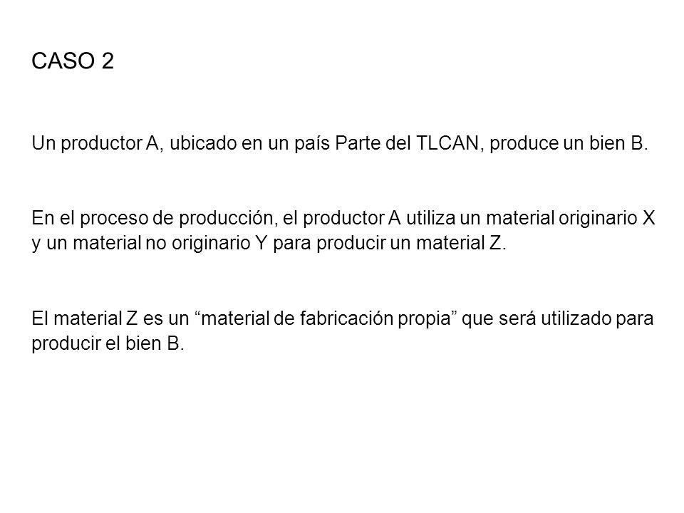 CASO 2 Un productor A, ubicado en un país Parte del TLCAN, produce un bien B.