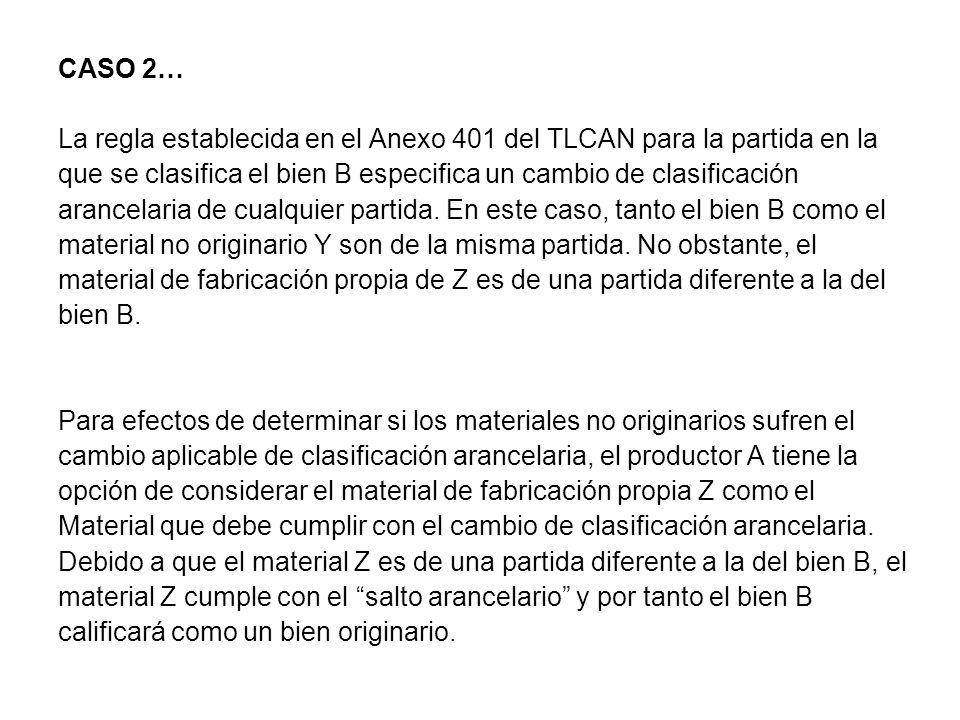 CASO 2… La regla establecida en el Anexo 401 del TLCAN para la partida en la que se clasifica el bien B especifica un cambio de clasificación arancelaria de cualquier partida.