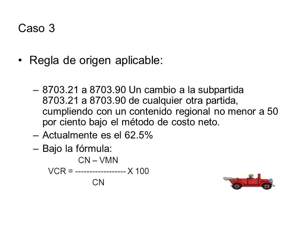 Caso 3 Regla de origen aplicable: –8703.21 a 8703.90 Un cambio a la subpartida 8703.21 a 8703.90 de cualquier otra partida, cumpliendo con un contenido regional no menor a 50 por ciento bajo el método de costo neto.