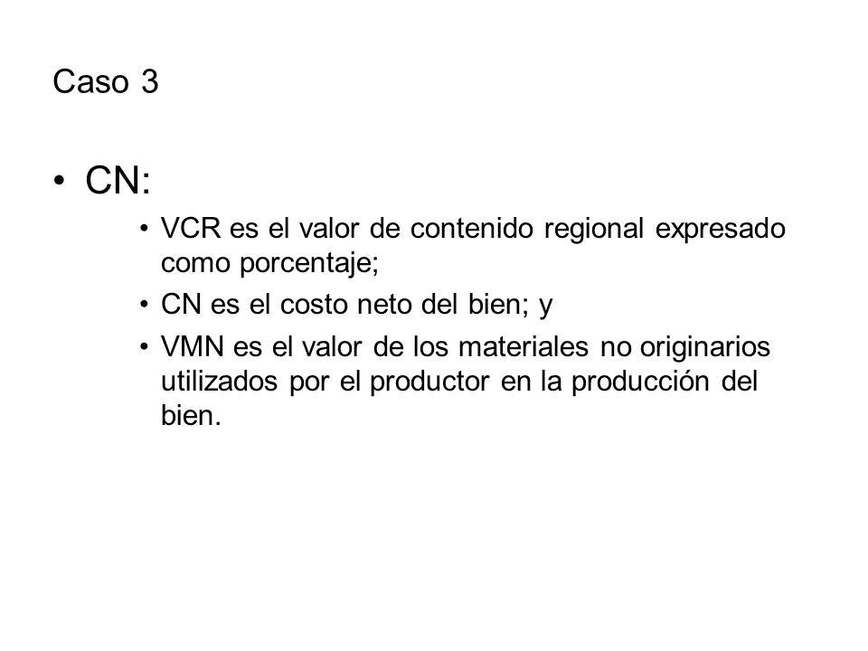 Caso 3 CN: VCR es el valor de contenido regional expresado como porcentaje; CN es el costo neto del bien; y VMN es el valor de los materiales no originarios utilizados por el productor en la producción del bien.