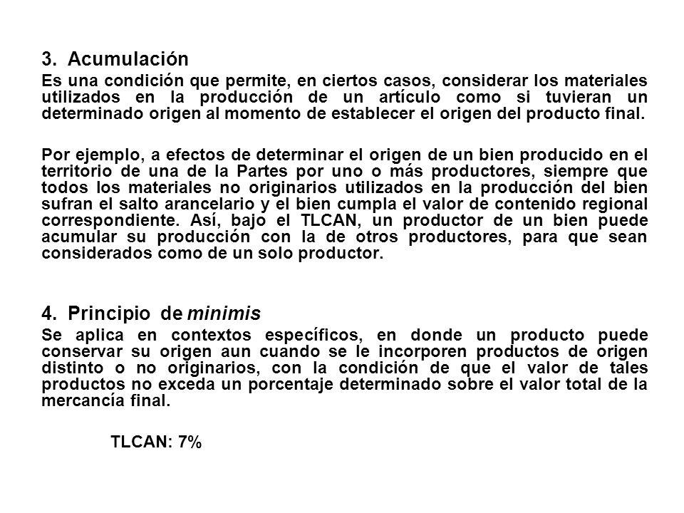 3. Acumulación Es una condición que permite, en ciertos casos, considerar los materiales utilizados en la producción de un artículo como si tuvieran u