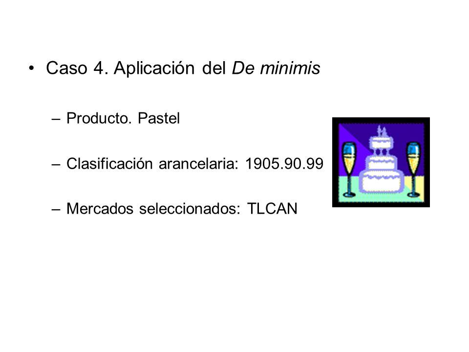 Caso 4.Aplicación del De minimis –Producto.