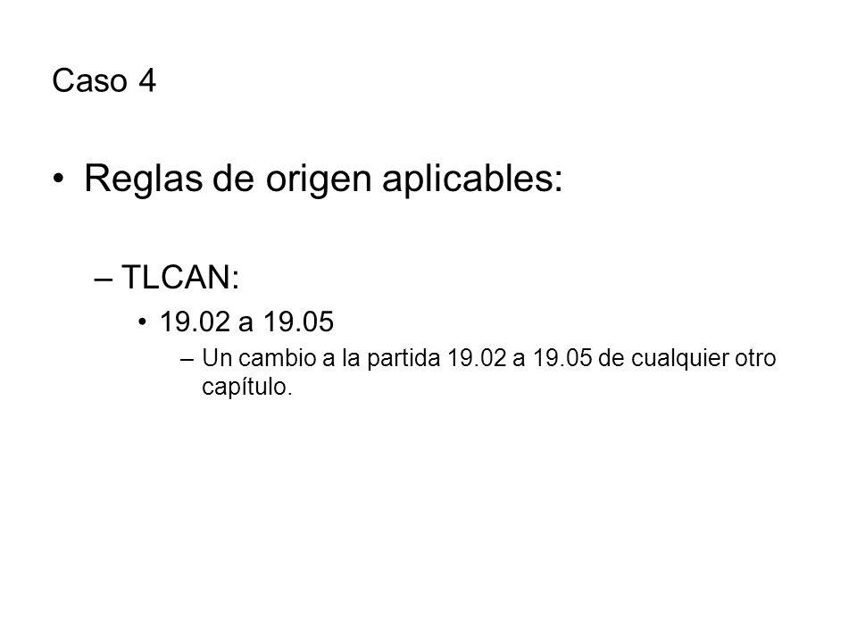 Caso 4 Reglas de origen aplicables: –TLCAN: 19.02 a 19.05 –Un cambio a la partida 19.02 a 19.05 de cualquier otro capítulo.