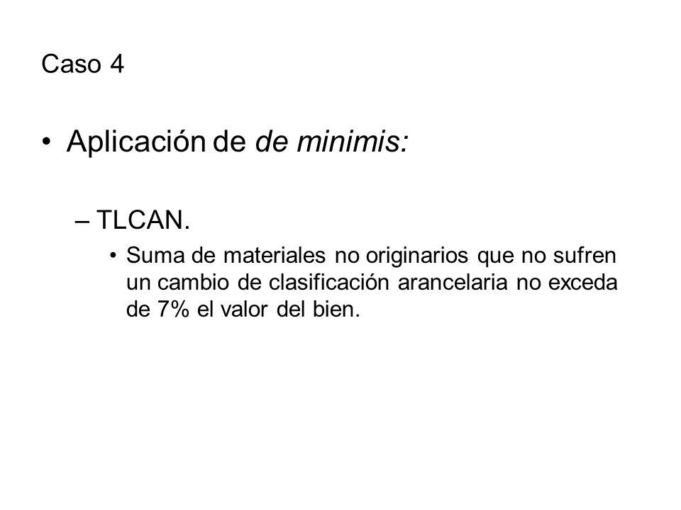 Caso 4 Aplicación de de minimis: –TLCAN.