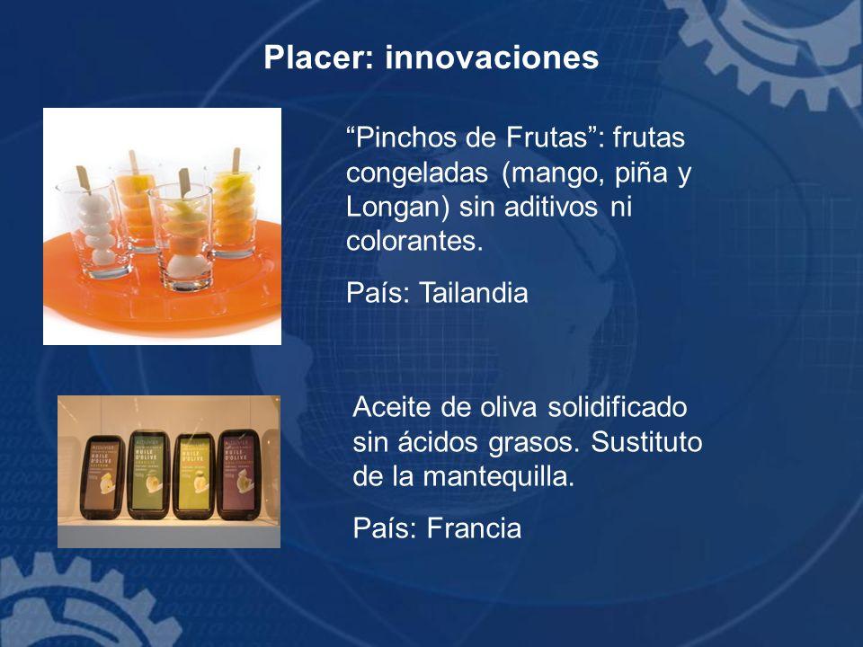 Placer: innovaciones Pinchos de Frutas: frutas congeladas (mango, piña y Longan) sin aditivos ni colorantes. País: Tailandia Aceite de oliva solidific