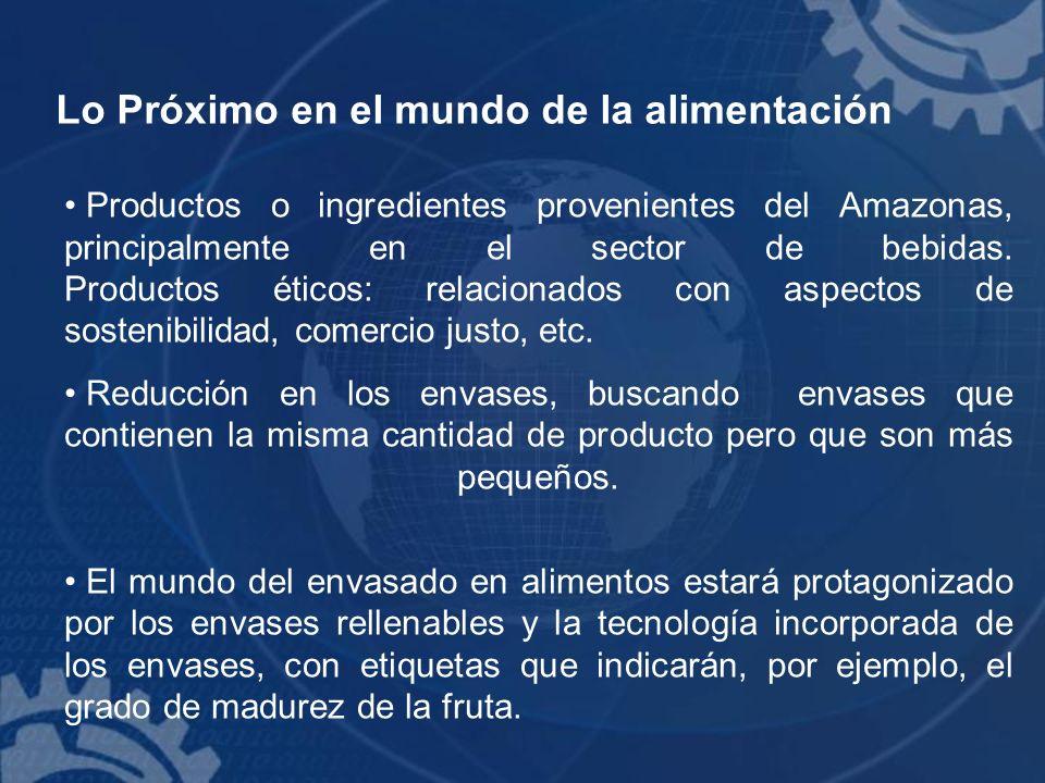 Lo Próximo en el mundo de la alimentación Productos o ingredientes provenientes del Amazonas, principalmente en el sector de bebidas. Productos éticos