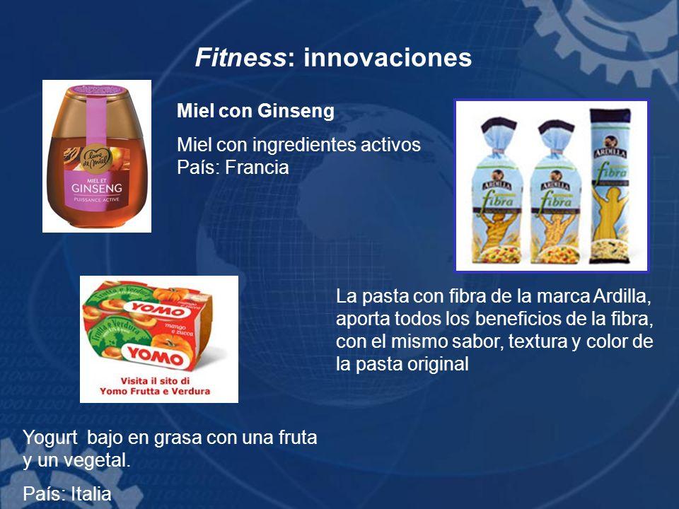 Fitness: innovaciones Miel con Ginseng Miel con ingredientes activos País: Francia Yogurt bajo en grasa con una fruta y un vegetal. País: Italia La pa