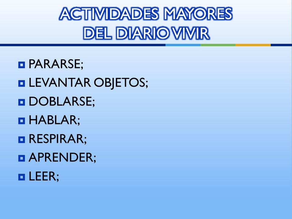 PARARSE; LEVANTAR OBJETOS; DOBLARSE; HABLAR; RESPIRAR; APRENDER; LEER;