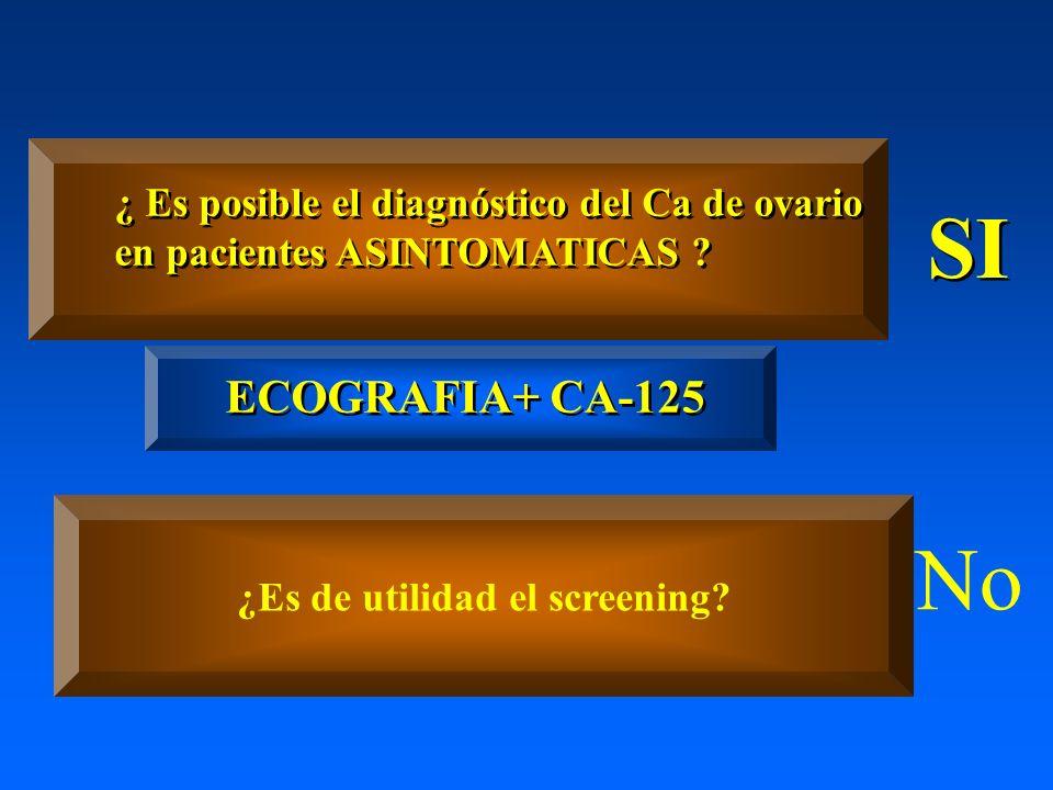 ¿ Es posible el diagnóstico del Ca de ovario en pacientes ASINTOMATICAS ? ¿ Es posible el diagnóstico del Ca de ovario en pacientes ASINTOMATICAS ? SI