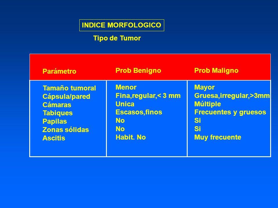 INDICE MORFOLOGICO Prob Benigno Menor Fina,regular,< 3 mm Unica Escasos,finos No Habit. No Prob Maligno Mayor Gruesa,irregular,>3mm Múltiple Frecuente