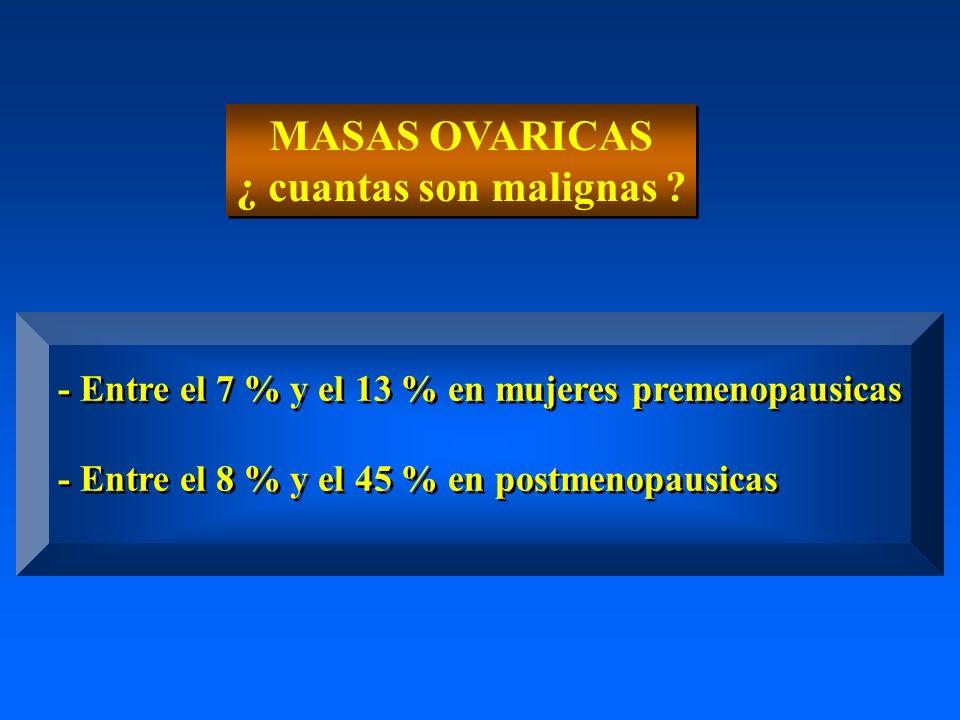 MASAS OVARICAS ¿ cuantas son malignas ? MASAS OVARICAS ¿ cuantas son malignas ? - Entre el 7 % y el 13 % en mujeres premenopausicas - Entre el 8 % y e