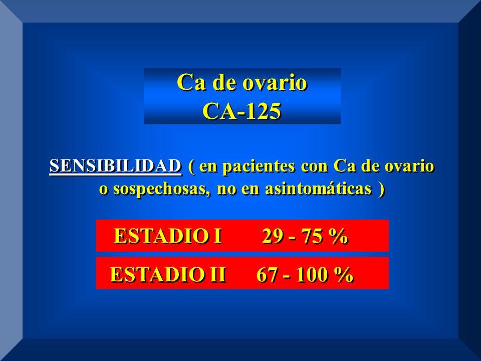 Ca de ovario CA-125 SENSIBILIDAD ( en pacientes con Ca de ovario o sospechosas, no en asintomáticas ) Ca de ovario CA-125 SENSIBILIDAD ( en pacientes con Ca de ovario o sospechosas, no en asintomáticas ) ESTADIO I ESTADIO II ESTADIO I ESTADIO II 29 - 75 % 67 - 100 % 29 - 75 % 67 - 100 %