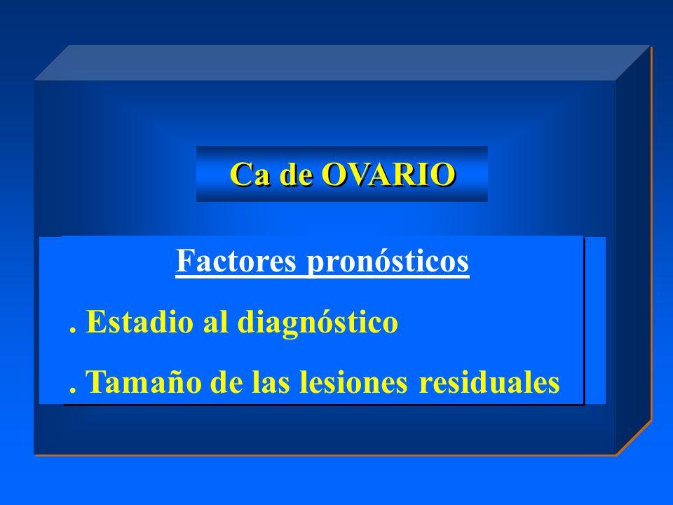 Factores pronósticos. Estadio al diagnóstico. Tamaño de las lesiones residuales Factores pronósticos. Estadio al diagnóstico. Tamaño de las lesiones r