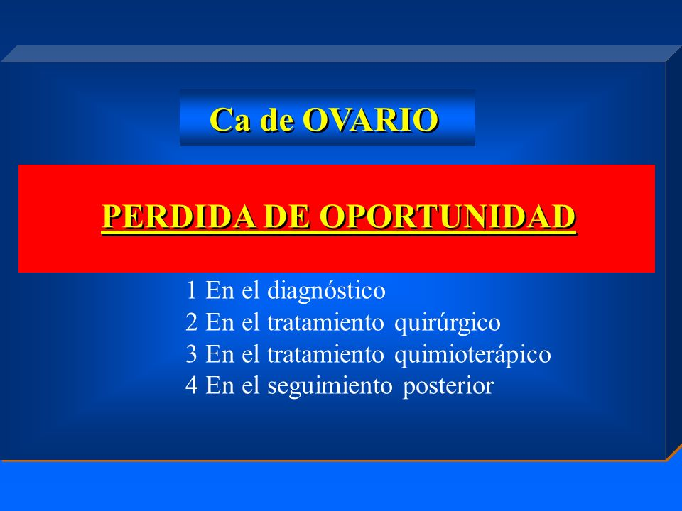 PERDIDA DE OPORTUNIDAD Ca de OVARIO 1 En el diagnóstico 2 En el tratamiento quirúrgico 3 En el tratamiento quimioterápico 4 En el seguimiento posterio