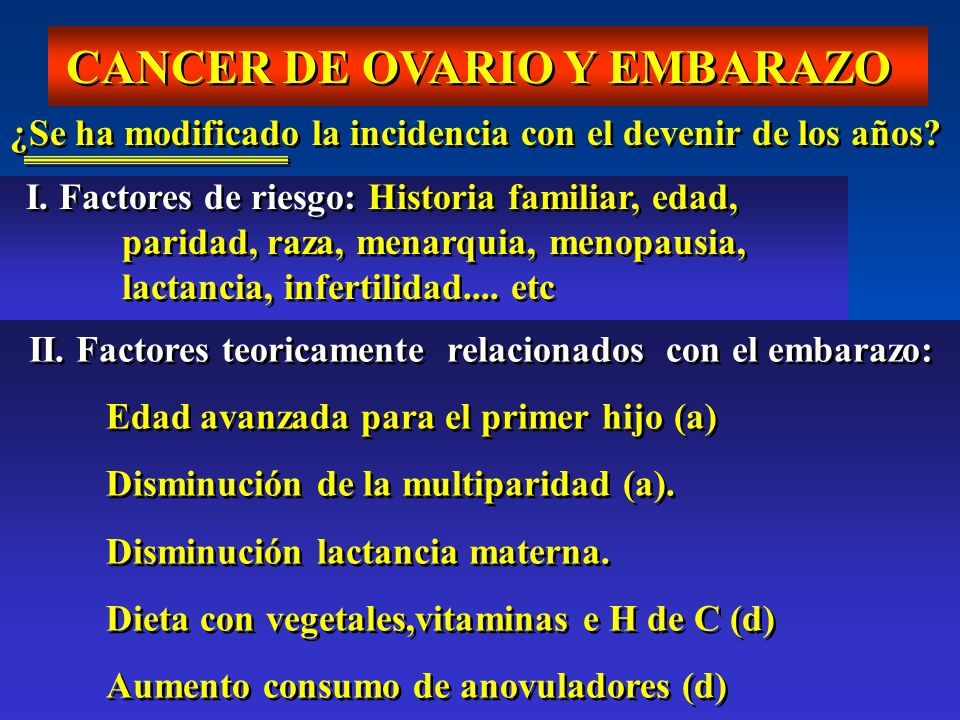 CANCER DE OVARIO Y EMBARAZO ¿Se ha modificado la incidencia con el devenir de los años? I. Factores de riesgo: Historia familiar, edad, paridad, raza,