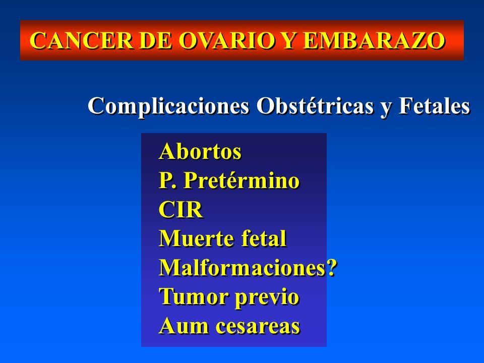 CANCER DE OVARIO Y EMBARAZO Complicaciones Obstétricas y Fetales Abortos P. Pretérmino CIR Muerte fetal Malformaciones? Tumor previo Aum cesareas Abor