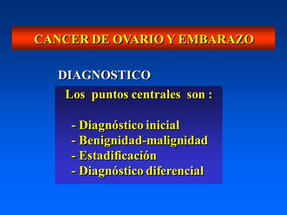 CANCER DE OVARIO Y EMBARAZO Los puntos centrales son : - Diagnóstico inicial - Benignidad-malignidad - Estadificación - Diagnóstico diferencial Los pu