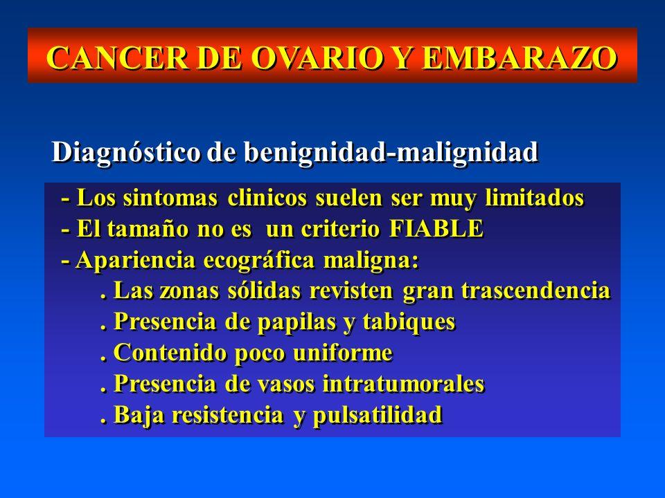 CANCER DE OVARIO Y EMBARAZO Diagnóstico de benignidad-malignidad - Los sintomas clinicos suelen ser muy limitados - El tamaño no es un criterio FIABLE - Apariencia ecográfica maligna:.