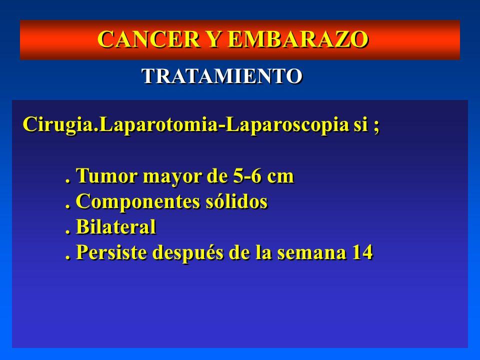 CANCER Y EMBARAZO TRATAMIENTO Cirugia.Laparotomia-Laparoscopia si ;. Tumor mayor de 5-6 cm. Componentes sólidos. Bilateral. Persiste después de la sem