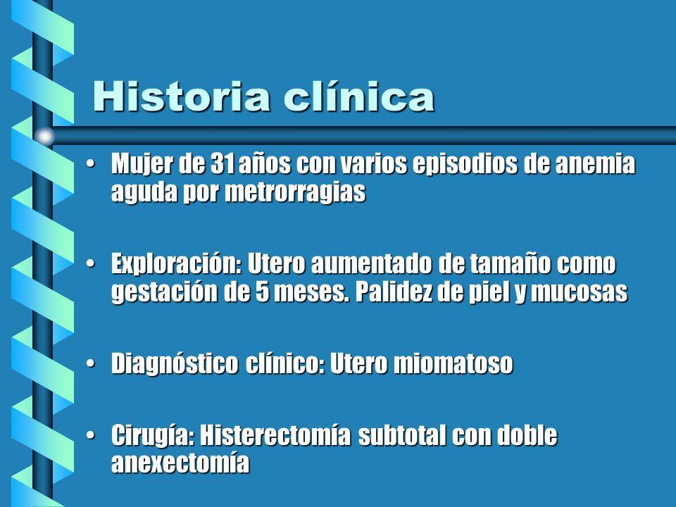Historia clínica Mujer de 31 años con varios episodios de anemia aguda por metrorragiasMujer de 31 años con varios episodios de anemia aguda por metro