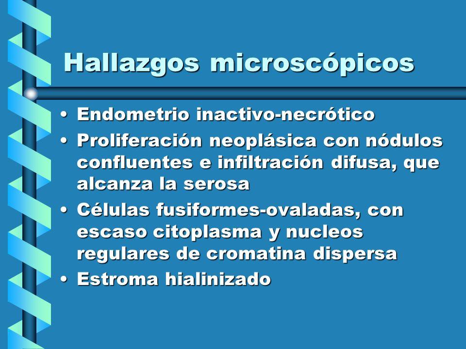 Hallazgos microscópicos Endometrio inactivo-necróticoEndometrio inactivo-necrótico Proliferación neoplásica con nódulos confluentes e infiltración dif